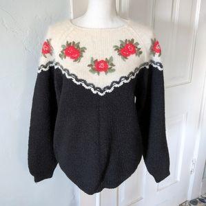 80s/90s Winter Floral Women's Sweater Medium